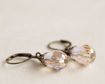 Champagne Antique Earrings, Faceted Glass Teardrop Beads, Brass, Neo Vintage Jewelry