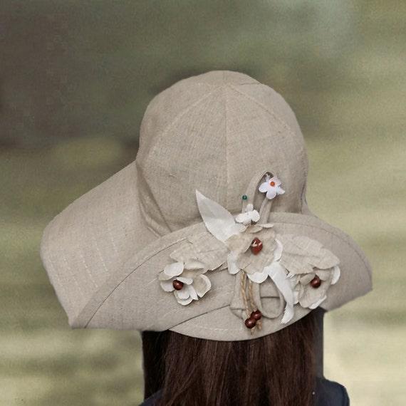 Sommerhüte Leinen, Suns Hüte Frauen, Womens Sonne Hüte, Bio-Baumwolle Hüte, Sonnenhut mit breiter Krempe, Frauen-Simmer Hut, Baumwolle Hüte Dame