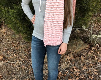 light pink acrylic hand knitted scarf