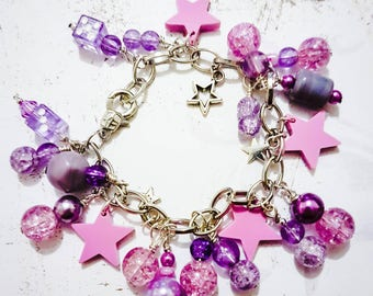 Pink & Lilac Cluster Bracelet with Star Charms