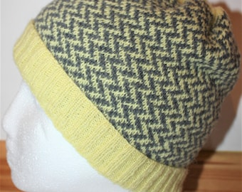 BEA Knitting Pattern for Ladies Fair Isle Beanie Bobble Hat PDF Instant Download
