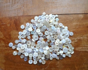 Creamy Ivory Pearl-Like  Tiny Old Fashion Buttons- Vintage Sewing Notions- Lot Old Baby Buttons- Collectible-Prim Folk Crafts-012517E