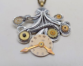 Steampunk necklace. Steampunk octopus pendant.