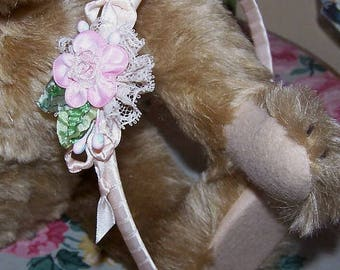 OOAK, Handmade, Antique, French, Revival, Ribbon, Work, Floral, Headband, Pink, Cream, Satin, Green, Lace, Rose, Flower, Girl, One of a Kind