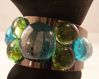 Cuff Bracelet w/ Large Stones, Bronze w/ Amber and Clear, Antiqued Silver or Gunmetal w/ Turquoise and Green