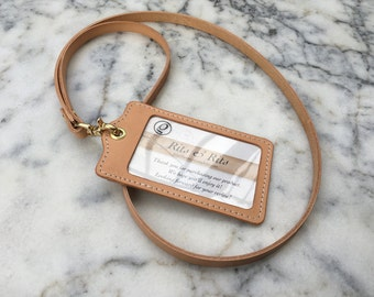 Handmade Leather Lanyard, Leather ID Holder, ID Badge Holder, Card Holder