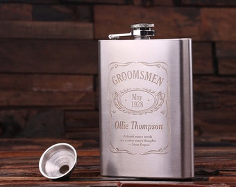 Personalized 8 oz Stainless Steel Metal Whiskey Scotch Flask Unique Men Christmas, Groomsmen, Man Cave, 21st Birthday Gift