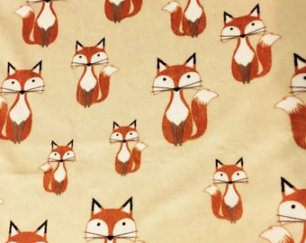 Minky Blanket Fox Print Minky with Hunter Green Dimple Dot Minky Backing - Perfect Size a Toddler or Child 36 x 42 LAST ONE AVAILABLE