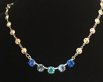 Crystal Chain Necklace with Blue Swarovski Crystals - Blue Crystal Necklace - Blue Statement Necklace - Statement Necklace (Item # 2724)