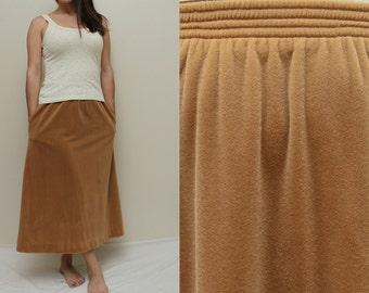 Vintage 70s Jonathan Logan Minimalist Staple Piece Tan Camel VELOUR Super Soft STRETCH Ankle Skirt w POCKETS - M Med