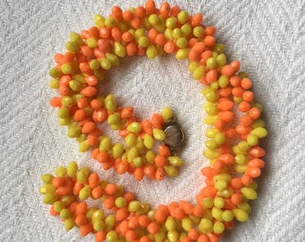 Vintage 1960s Resin Candy Corn Beaded Necklace