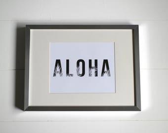 Aloha (with Palm Fronds) Printable Digital Download