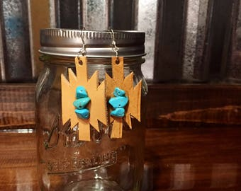 Turquoise stone chip and leather aztec earrings