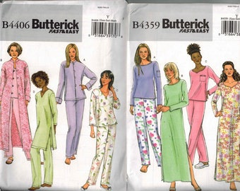 Butterick 4359 & 4406 Pajama Nightgown Robe Sewing Pattern Sizes XS-S-M 4-6-8-10-12 EASY to sew