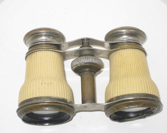 Vintage Chevalier Opticien Paris Opera Glasses Binoculars Antique French Brass Ivory Spectacles