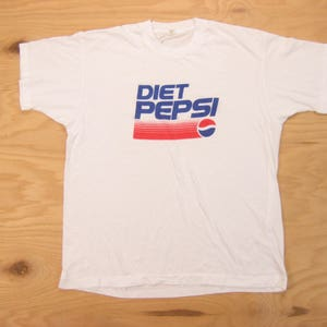 1980s Diet Pepsi Tee Vintage Retro Men's White 50/50 Screen Stars Soda  Promo Advertising