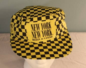 Vintage 1980's New York, New York Hotel and Casino Las Vegas, Nevada Yellow and Black Checkered Snap Back Hat