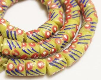Red Blue Yellow African Beads (10) , Krobo Beads, Powder Glass Beads (AC126)