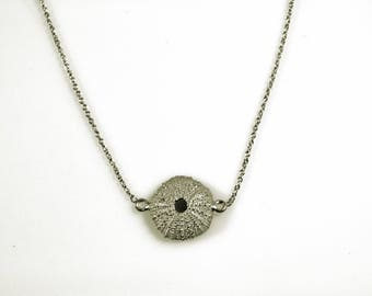Delicate Sea urchin pendant necklace, Sterling Silver, 18k gold, gold plated optional, handmade necklace, gift for her