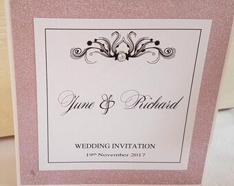 "Handmade white and pink glitter pocketfold wedding invitation ""sample"""