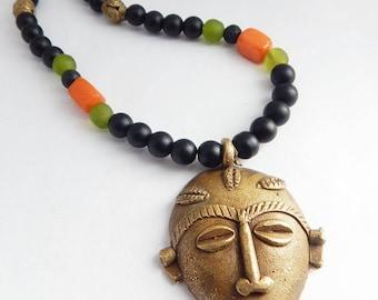 African Jewelry Set Necklace Bracelet Men Gift Ideas Afrocentric Bronze African Mask Kente