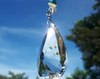 Hanging Crystal suncatcher Large pendant with Turquoise and mixed beads