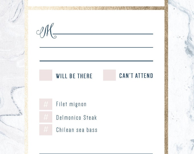 PRINTABLE - Gold Marble Wedding RSVP Dusty Rose, Foil, Pink, Pattern, Dark Blue, Navy, light grey