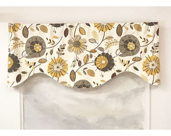 Abstract Floral M-Shaped Valance in Yellow and Tan