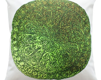 """Decorative Cushion Cover Spring Flower in Green Ornaments Handmade in Ireland, Double-Sided Print, 18"""""""