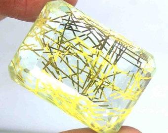 Emerald Shape 106.65 Ct Certified Brazilian Gorgeous Yellow Rutilated Quartz Loose Gemstone AO2068
