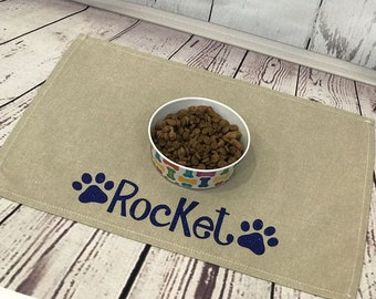 Personalized Pet Placemat, Dog Placemat For Food Bowls, Personalized Placemat For Pet Food, Paw Print Placemat, Personalized Pet Gift