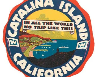 Vintage Style Catalina Island California  Travel Decal sticker