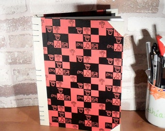 Diary A5-Mosaic red Black//notebook//write//reminders//Gift