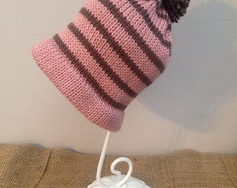 Pink and Brown Winter Cap
