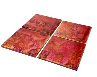 Abstract Coasters - Red, Yellow, Orange - Set of 4