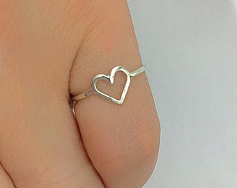 Heart Ring 925 Silver Pinky Ring Knuckle Ring,Dainty Midi Ring Love Symbol Ring Valentines Gift For Her Girl,Teens,Friendship,Mom