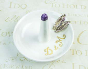 Personalized Jewelry Dish Ring dish engagement gift Purple leaves Gold White Ring holder jewelry storage Bridesmaid Gift Shower Wedding Gift