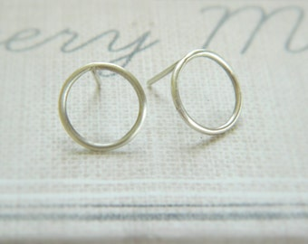 Open Circle Stud Silver Earrings, Dainty Sterling Silver Stud Earrings, Minimal Earrings