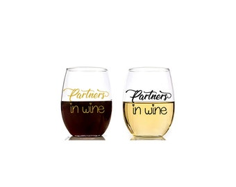 Partners in Wine 20 oz Stemless Wine Glass Set, Funny Wine Glass, Mom Gift, Best Friend Gift, Partners in Crime, Bridesmaid Gifts, Wine Love