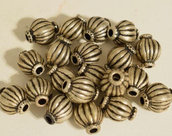 Beads Silver Tibetan Oval Fluted Vintage Tibetan Silver Bead Jewelry