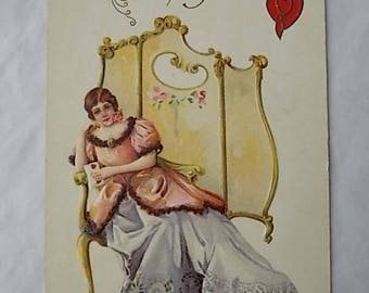 Vintage Embossed Valentines Day Postcard Lady in Boudoir Early 1900s