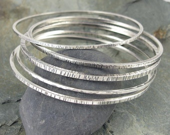 Set of 5 Sterling Silver Bangle Bracelets - Silver Bangle Set - Textured Sterling Bangle set - size Large Medium or Small