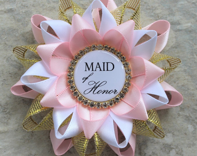 Maid of Honor Gift, Bridesmaid Gift, Bridal Shower Decorations, Maid of Honor Proposal Gift, Bridal Shower Corsage, Pale Pink, Gold, White