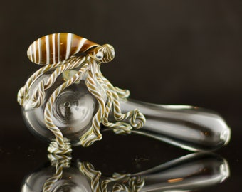 Octopus Glass Spoon Pipe in Clear & Artist Swirl, #679