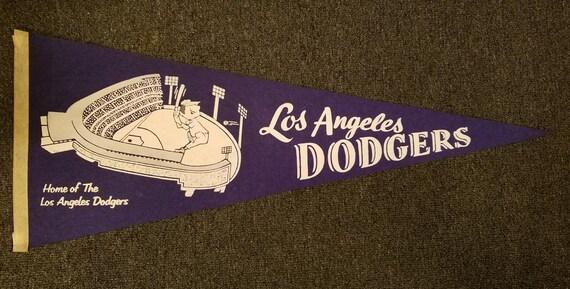 FREE SHIPPING-Vintage-1958-Los-Angeles-Dodgers-Large-Felt-Pennant-Wonderful Condition-Original