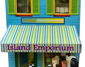 Island Emporium dollhouse shop in a shoebox kit; miniature tropical shop; rainy day activity