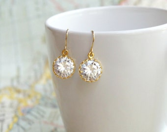 Simple Drops, Petite Earrings, Cubic Zirconia Earrings, CZ Earrings, Bridesmaid Earrings, Drop Earrings, Bridal Earrings, Bridesmaid Gift,
