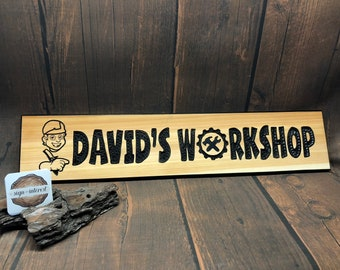 HAND CARVED/Personalized Wood Sign/Name Wood Carved Sign/Handmade Wooden Sign/Wood Shop Sign/Man Cave Sign/Personalized Wood Garage Sign