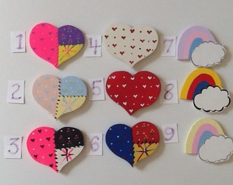 Heart and Rainbow Mini-Wooden Cut-Outs