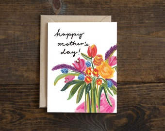 Mother's day card, flowers for mom, hand painted florals, floral mom greeting
